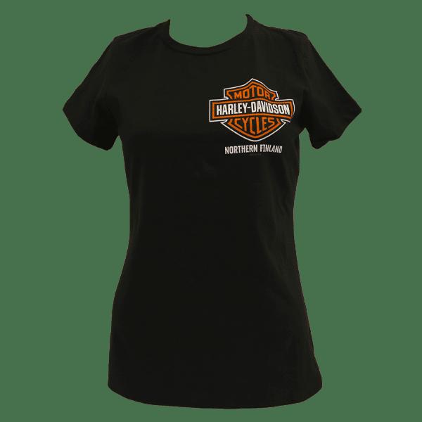 Harley Davidson Paita HD Naisten Dealer t shirt T Paita Oulu pikku logo Etu