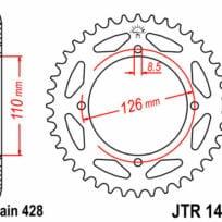 JT TAKARATAS 44 hampainen JTR1466.44, Kawasaki KLX125 D-Tracker 2010-13
